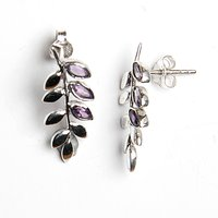 Leaf Designer 925 Sterling Silver Amethyst Gemstone Earring