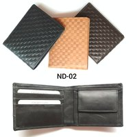 Men's genuine leather wallet with black and multi colour