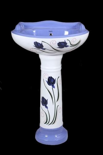 Designer Blue Pedestal Wash Basin