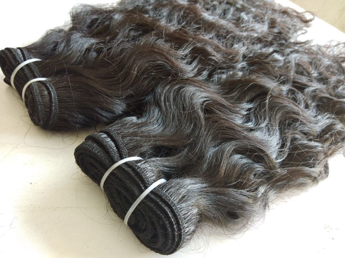 Single Donor Raw Indian Wavy Hair ,Machine Weft Wavy Hair