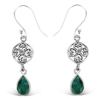 925 Sterling Silver Attractive Designer Drop Hook Emerald Earring