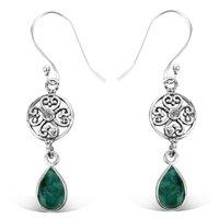 925 Sterling Silver Attractive Designer Drop Hook Emerald Earring