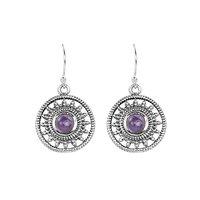 Ethnic Designer 925 Sterling Silver Amethyst Earring
