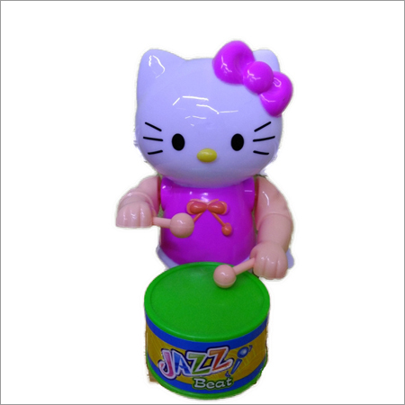 Wind Up Cat Drummer Plastic Toy