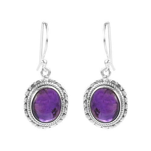 Stylish 925 Sterling Silver amethyst gemstone earring