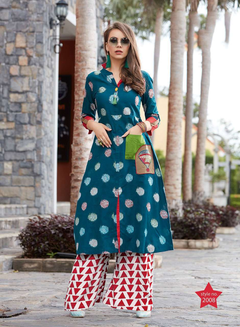 Fashion studio vol 2 kajal style cotton rayon long kurtis 2001-2016