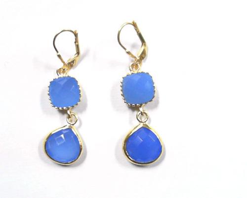 925 Sterling Silver Blue Chalcedony Designer Earring