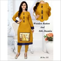 Designer Kurtis With Wooden Button And Jhumka