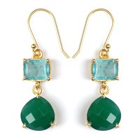 925 Sterling Silver Blue Topaz And Green Onyx Earring