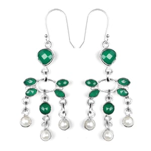 Designer 925 Sterling Silver Onyx and Pearl earrings