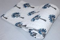 Blue Palm Tree Kantha Quilt
