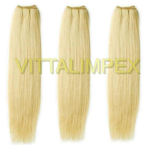 Blonde remy weft hairs