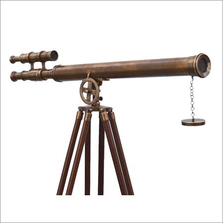 Floor Standing Antique Brass Telescope Vintage