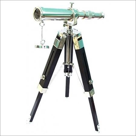 Chrome Brass Telescope with Wood Tripod