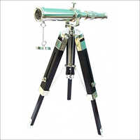 Chrome Brass Telescope with Wood Tripod