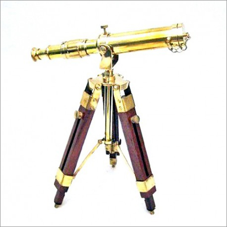 Brass Telescope - with Wood Stand