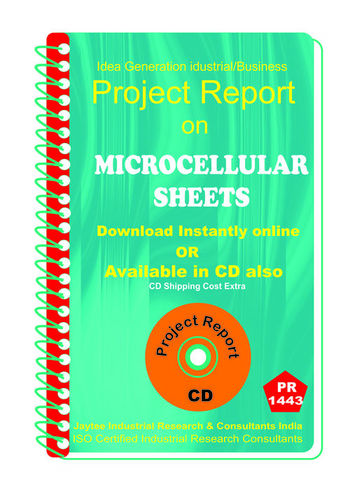 Microcellular Sheets manufacturing project Report eBook