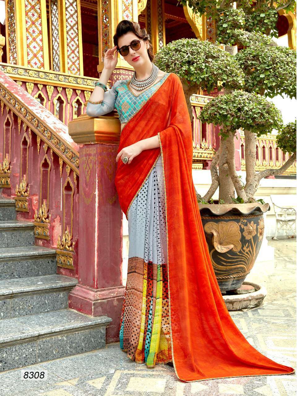 Georgette saree with raw silk embroidered blouse 8301-8312
