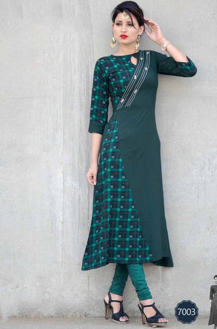 Rayon kurtis 7001-7007 long stylish patterms in sethnic surat