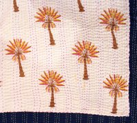 Colorful Palm Tree Kantha Quilt