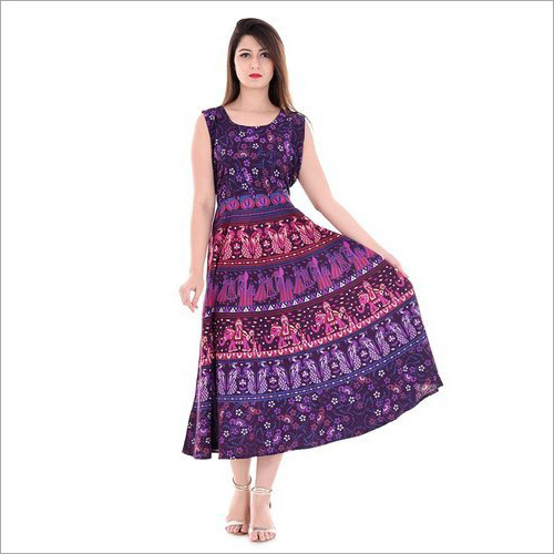 Ladies Rajasthani Printed Long Kurti