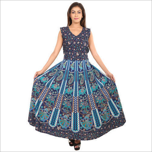 Ladies Cotton Jaipuri Printed Dress