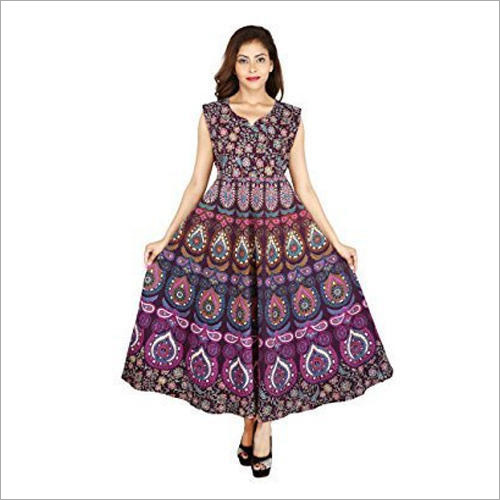 Ladies Sanganeri Printed Long Casual Wear Dress