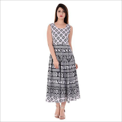 Ladies Black And White Long Dress
