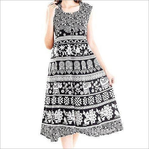 Ladies Jaipuri Black White Maxi Dress