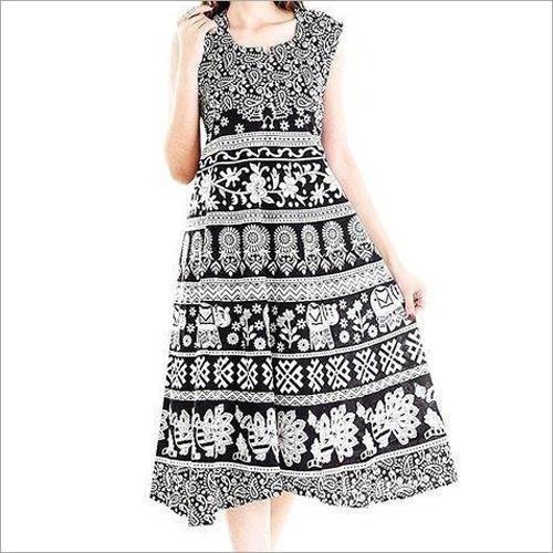 Ladies Jaipuri Black White Maxi Dress