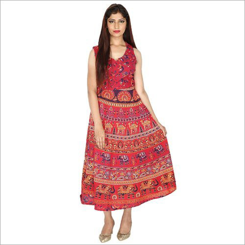Ladies Jaipuri Print Maxi Dress