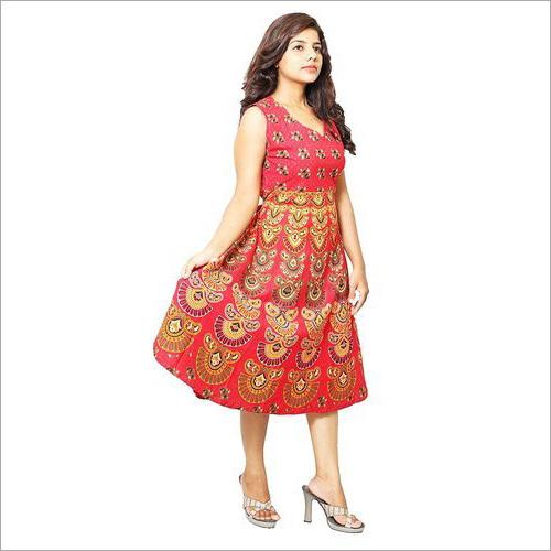 Ladies Girls Traditional Print Short Dress