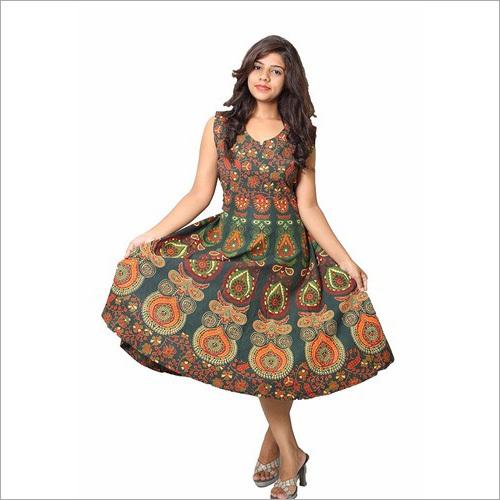 Ladies Jaipuri Printed Knee Length One Piece Dress