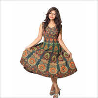 Ladies Jaipuri Printed Knee Length One Piece Dress