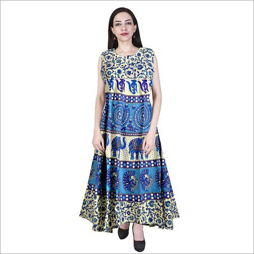 Jaipuri Printed Long Casual Wear Dress