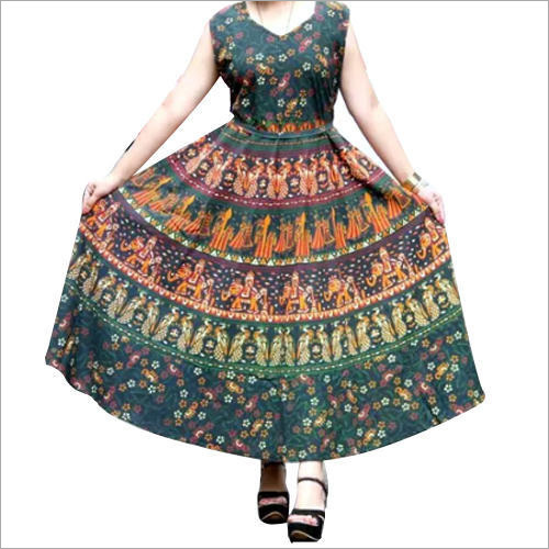 Ladies Jaipuri Sleeveless Frock