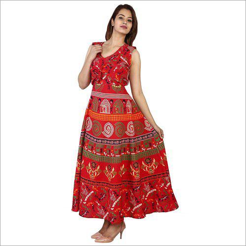 Rajasthani Printed Rayon Long Maxi Dress