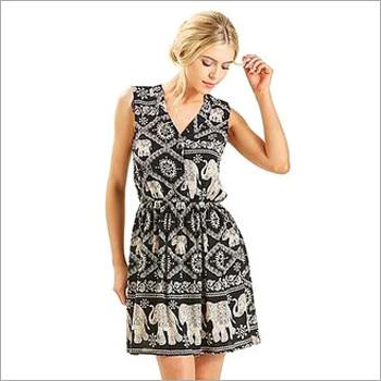 Ladies Elephant Crepe Long Dress