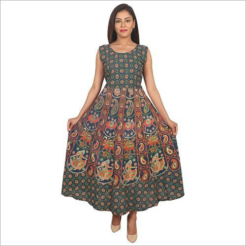 Ladies Jaipuri Animal Design Maxi Dress