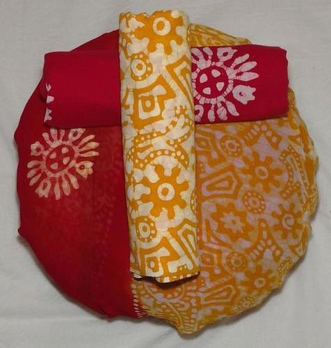 Batik Printed Cotton Suit with Chiffon Dupatta