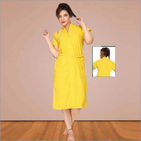 Ladies Yellow Color Knitted Bathrobe