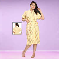 Ladies Printed Knitted Bathrobe