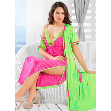 Ladies Fancy Satin Nighty & Robe