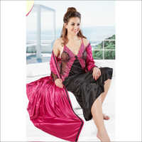 Ladies Designer Satin Nighty & Robe Set