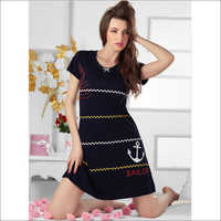 Sailor Print Short Nightdress