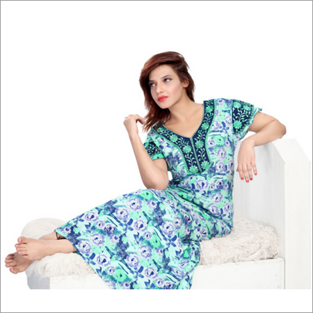 Ladies Designer Print Long Nighty