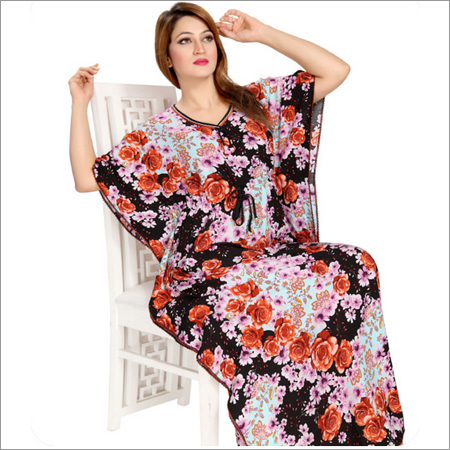 Ladies Printed satin Kaftan