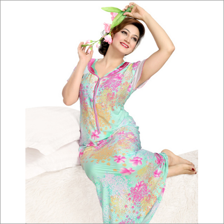 Floral Print Rayon Fancy Nighty