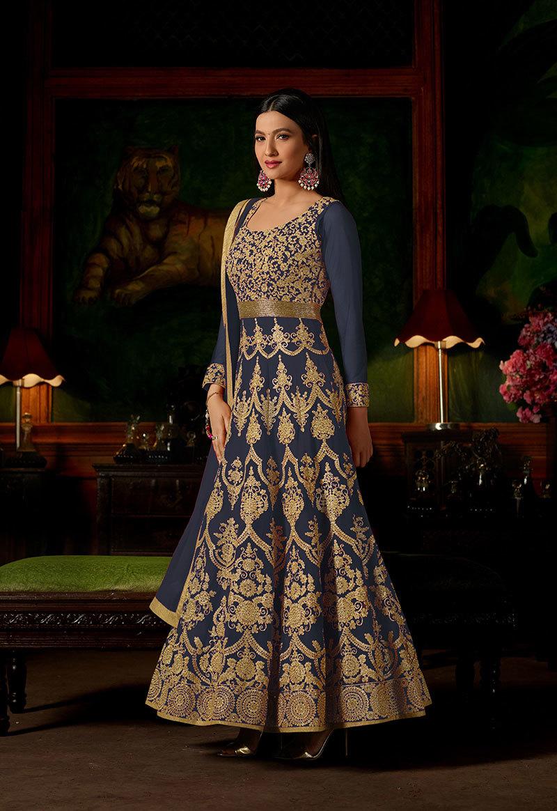 sethnic suits wholesaler in surat georgette salwar kameez heavy work