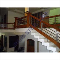 Wooden And Steel Glass Railing